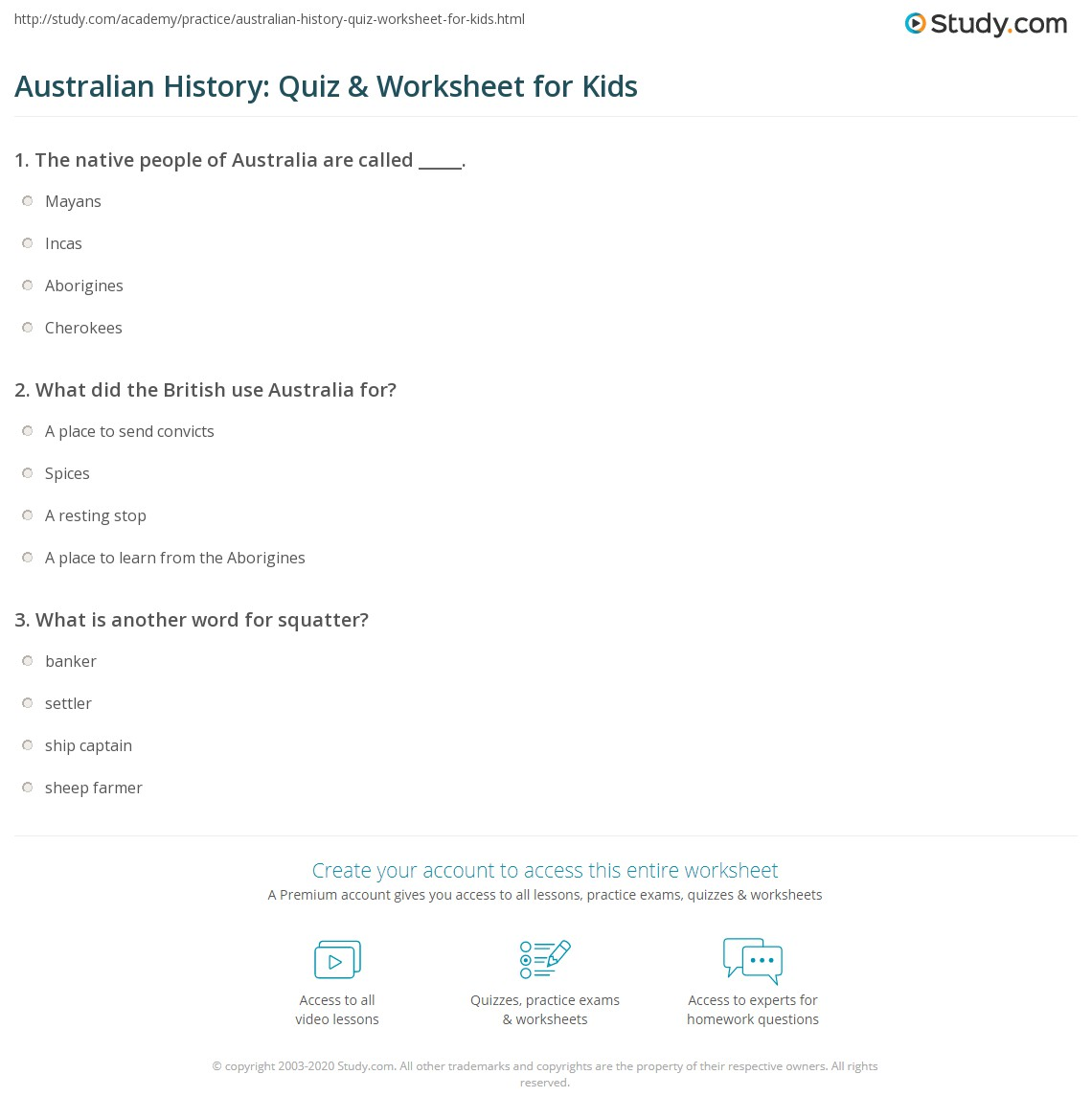 Australian History Quiz Amp Worksheet For Kids
