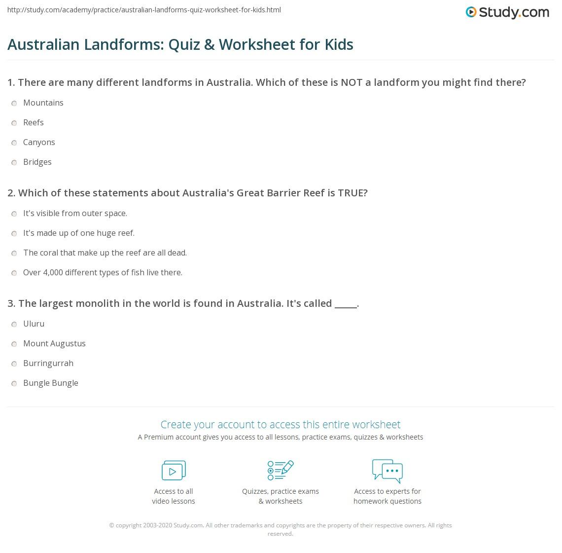 Australian Landforms Quiz Amp Worksheet For Kids