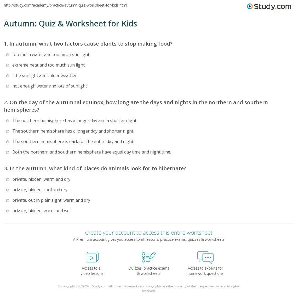 Autumn Quiz Amp Worksheet For Kids