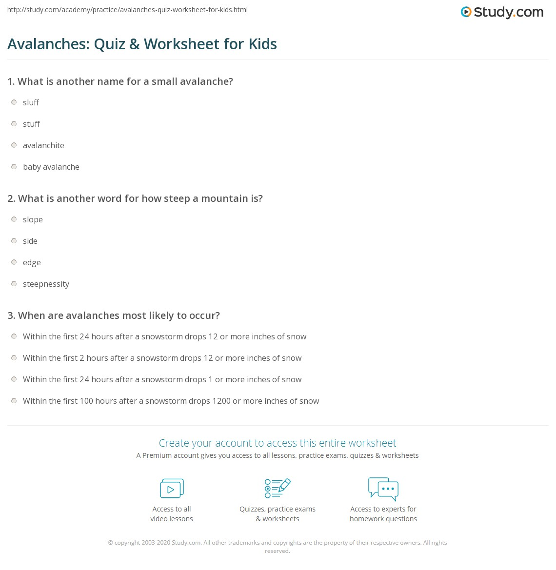 Avalanches Quiz Amp Worksheet For Kids