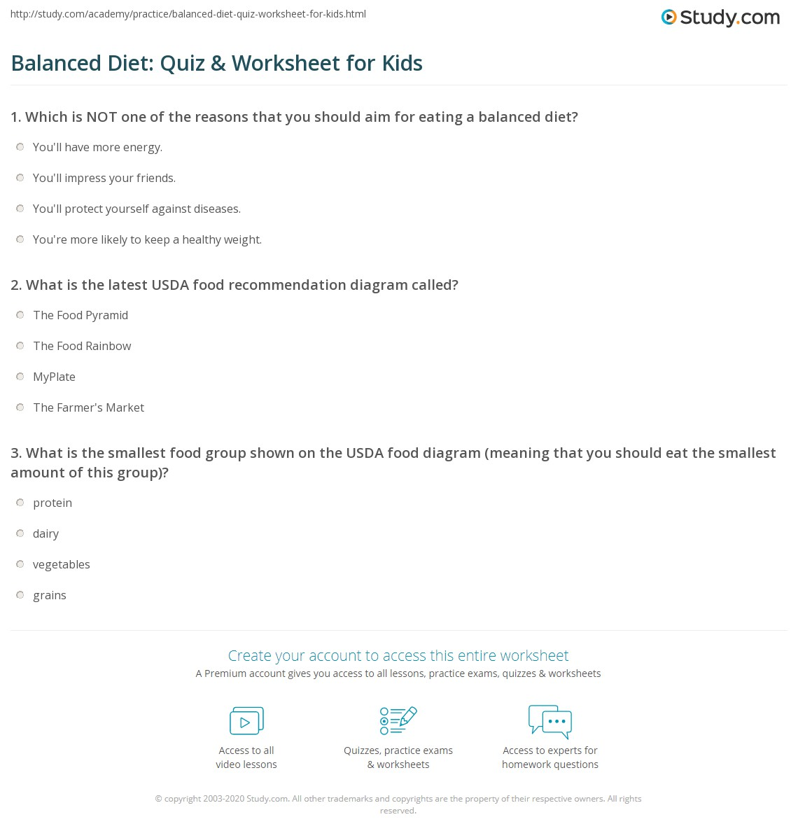 Balancedt Quiz Amp Worksheet For Kids