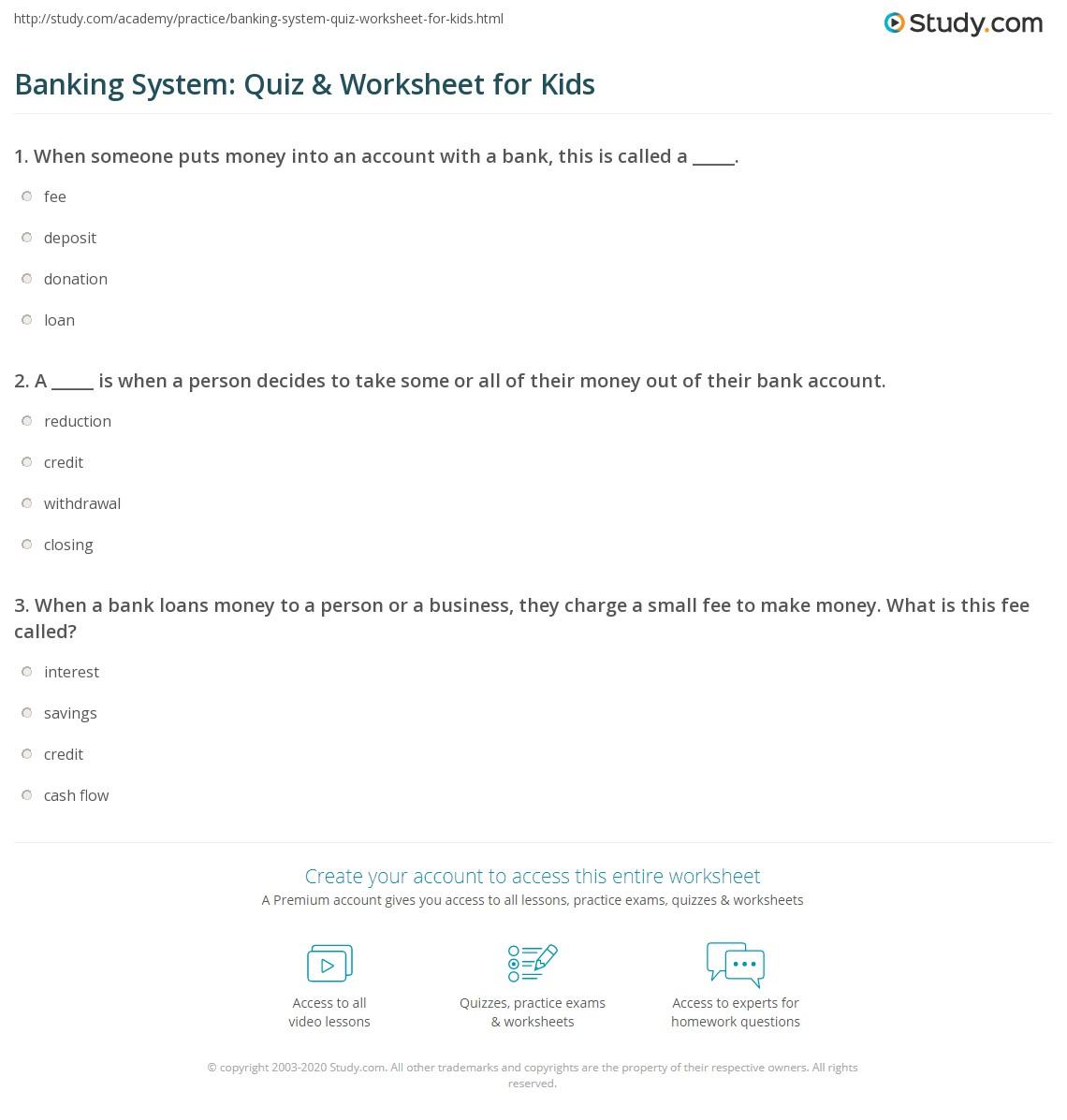 Banking System Quiz Amp Worksheet For Kids