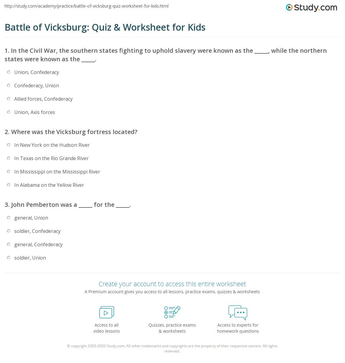 Battle Of Vicksburg Quiz Amp Worksheet For Kids