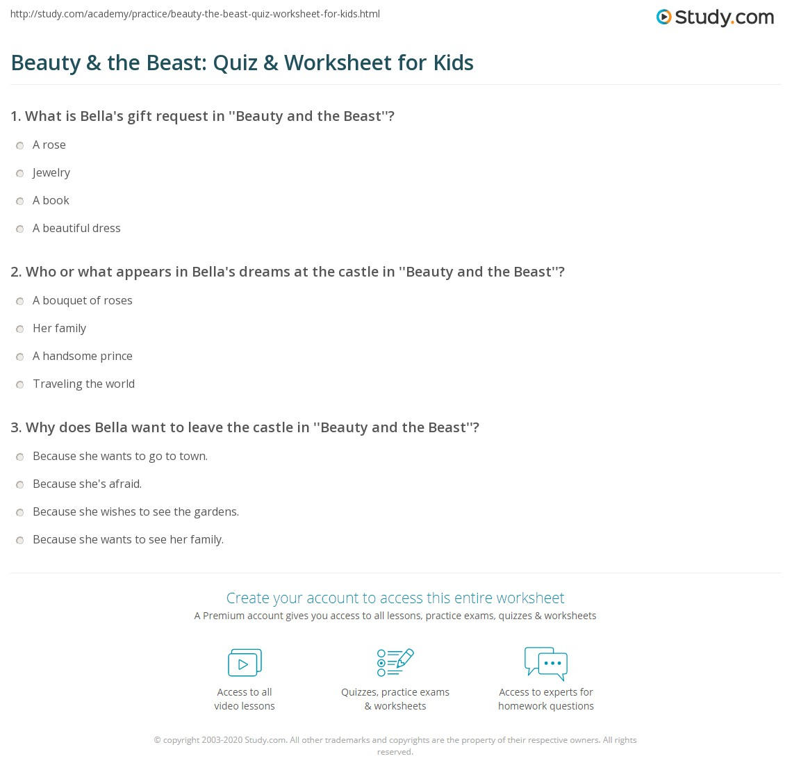 Beauty Amp The Beast Quiz Amp Worksheet For Kids