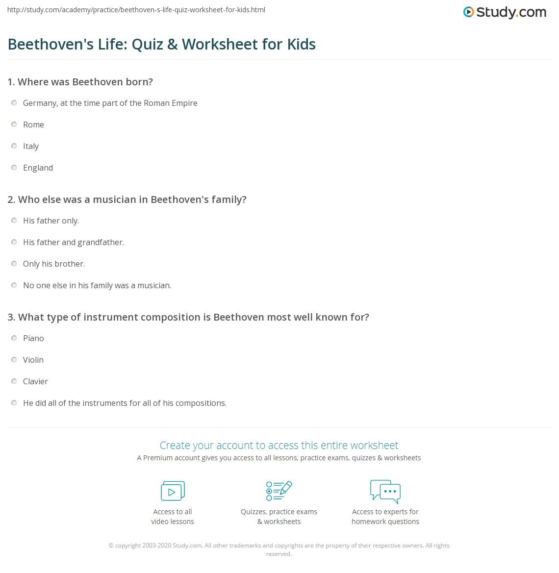 Beethoven S Life Quiz Amp Worksheet For Kids