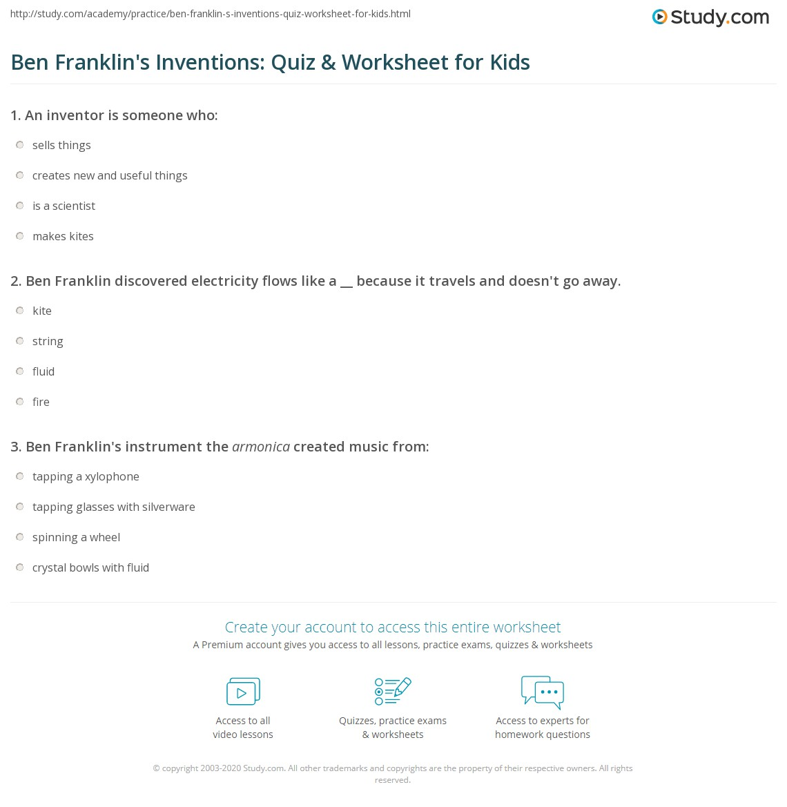 Ben Franklin S Inventions Quiz Amp Worksheet For Kids