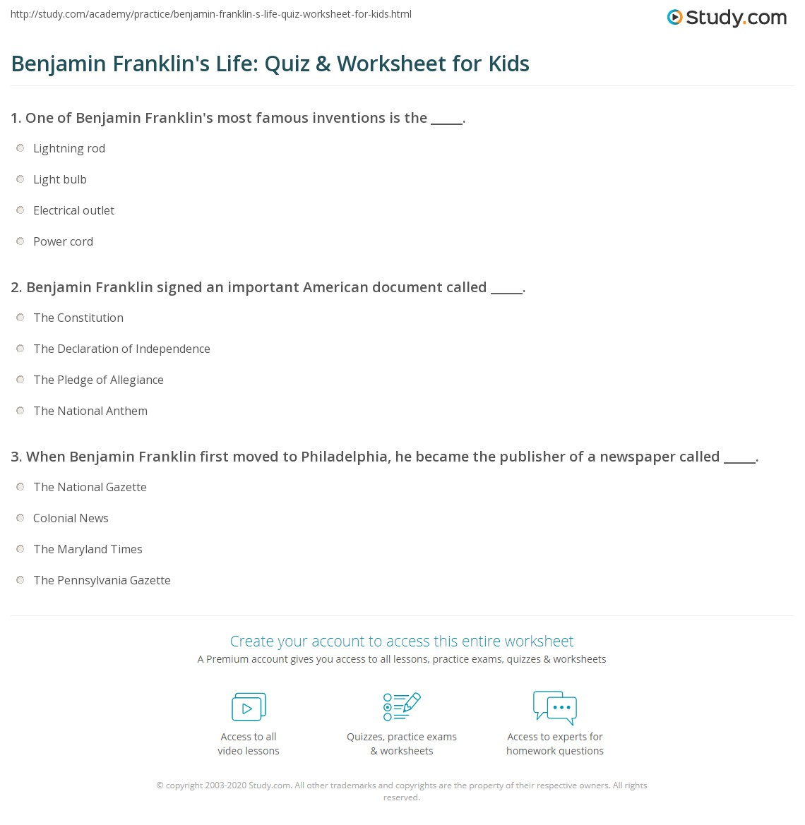 Benjamin Franklin S Life Quiz Amp Worksheet For Kids