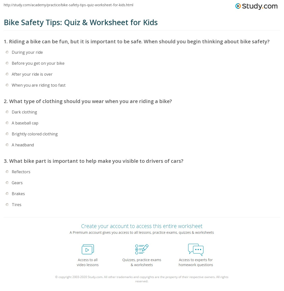 Bike Safety Tips Quiz Amp Worksheet For Kids