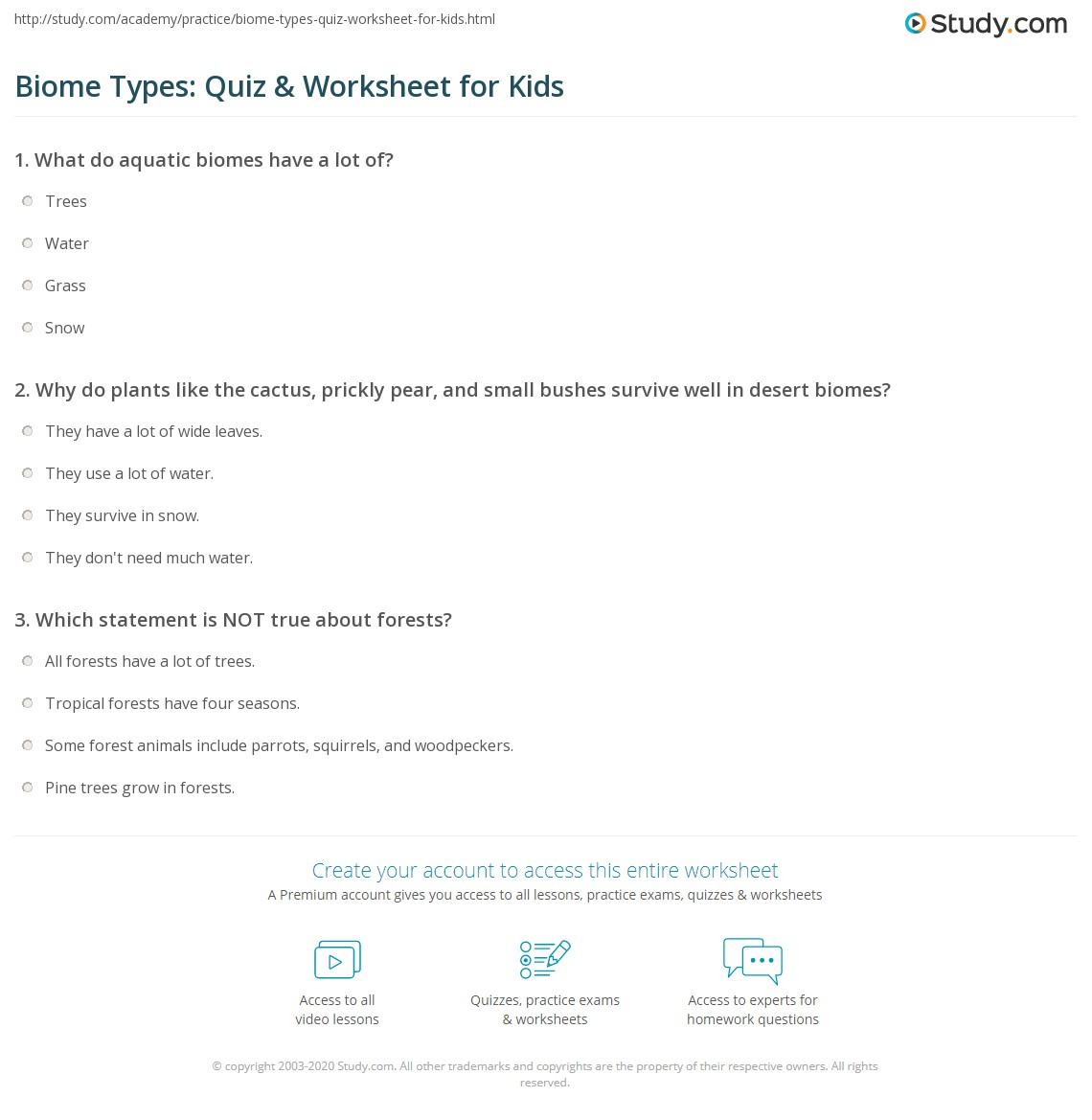 Biome Types Quiz Amp Worksheet For Kids