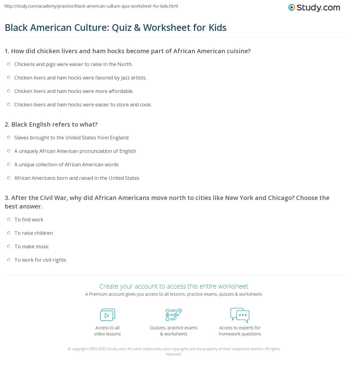 Black American Culture Quiz Amp Worksheet For Kids