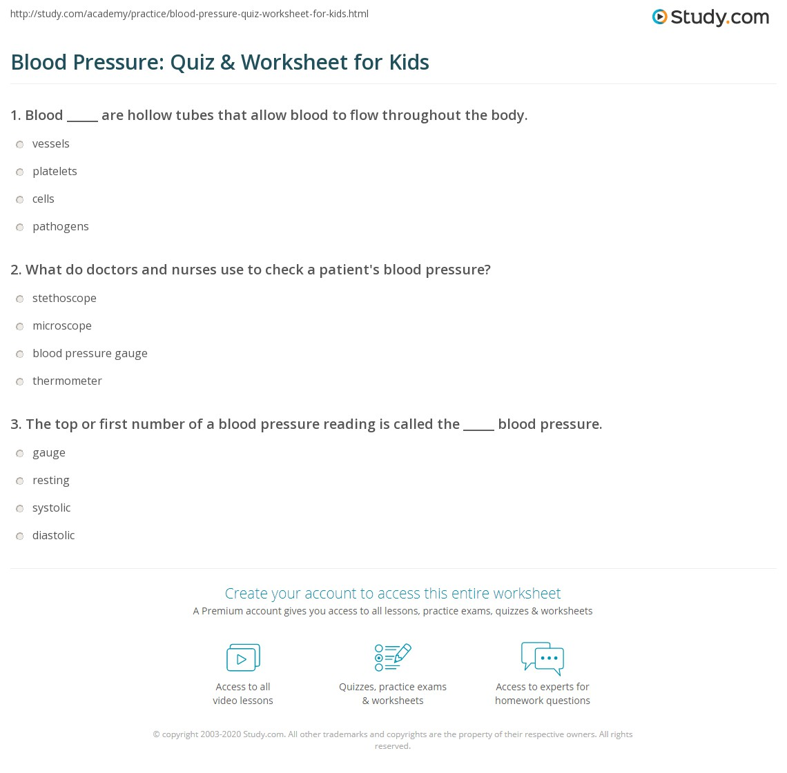 Blood Pressure Quiz Amp Worksheet For Kids