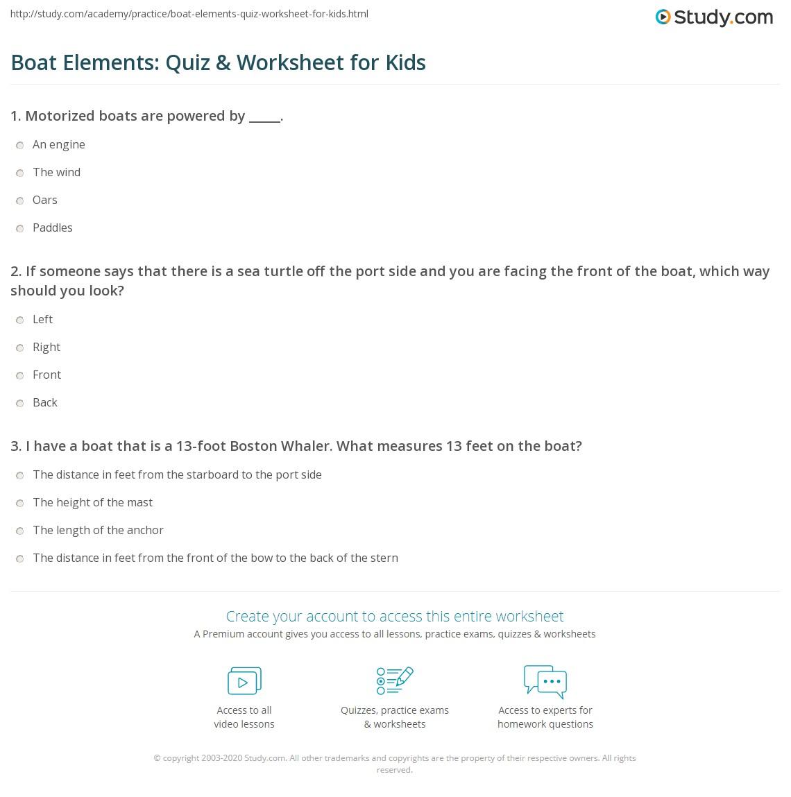 Boat Elements Quiz Amp Worksheet For Kids