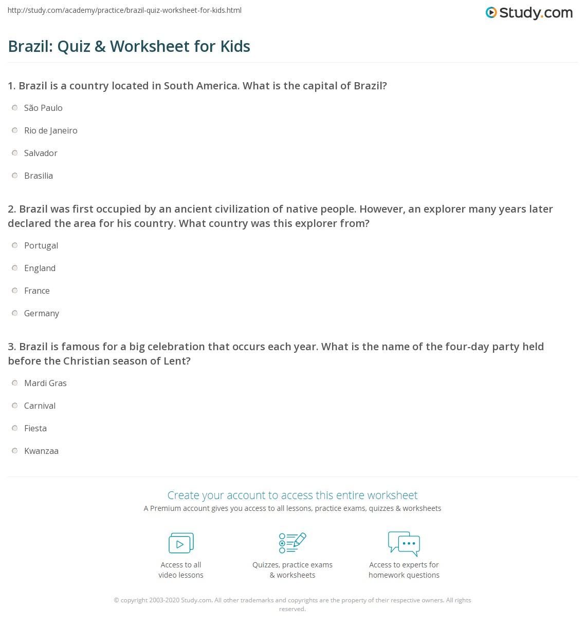 Brazil Quiz Amp Worksheet For Kids