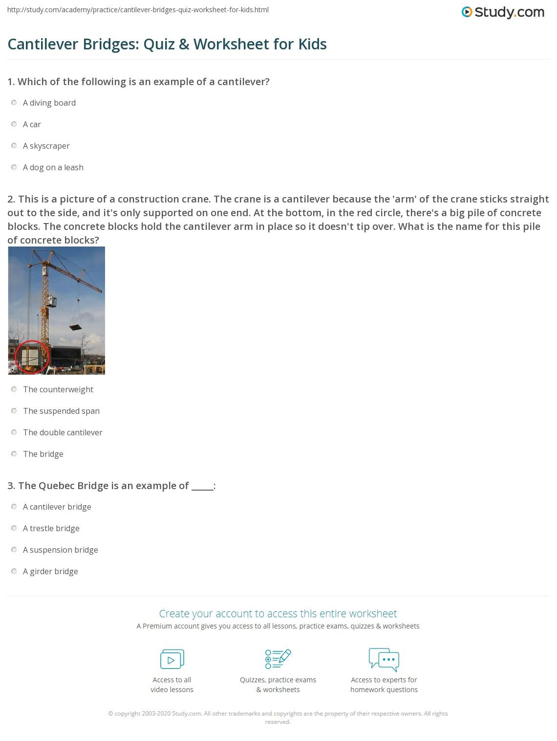 Cantilever Bridges Quiz Amp Worksheet For Kids