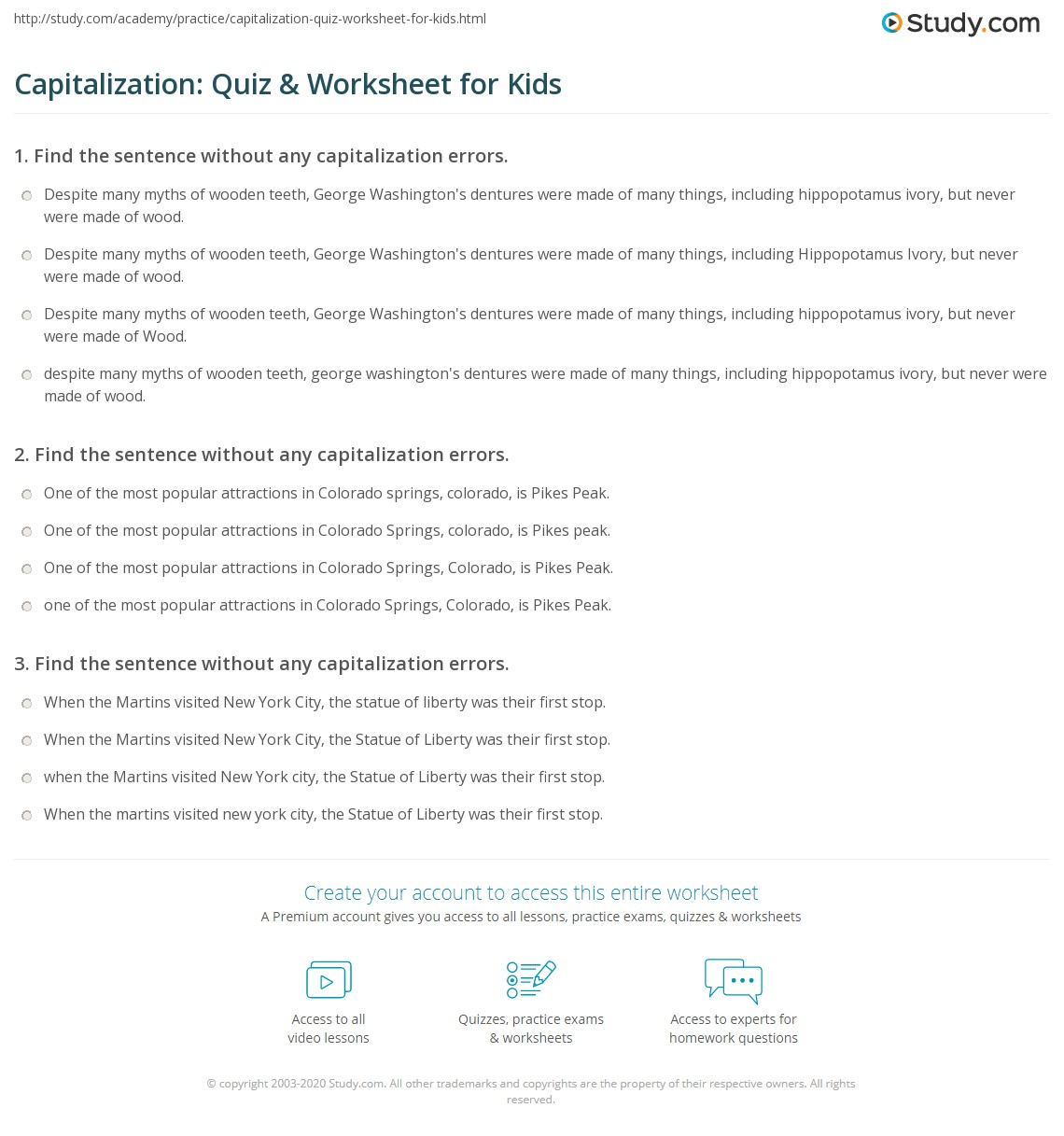 Capitalization Quiz Amp Worksheet For Kids