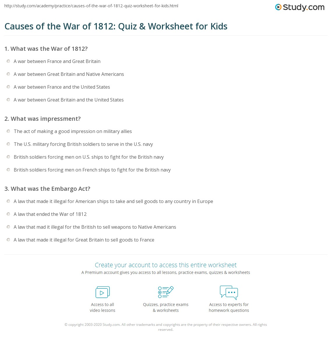Causes Of The War Of Quiz Amp Worksheet For Kids