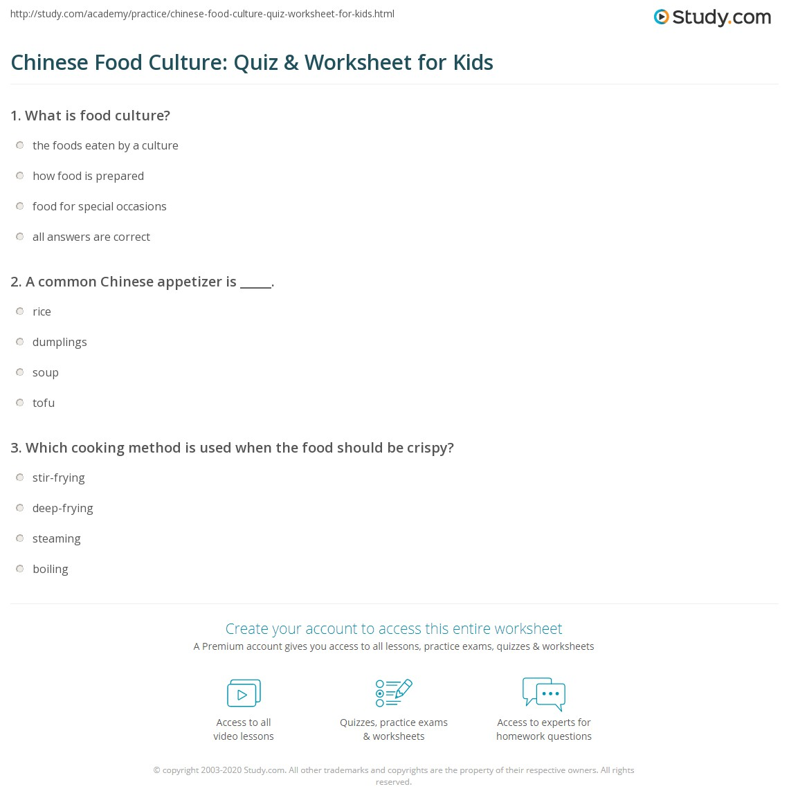Chinese Food Culture Quiz Amp Worksheet For Kids