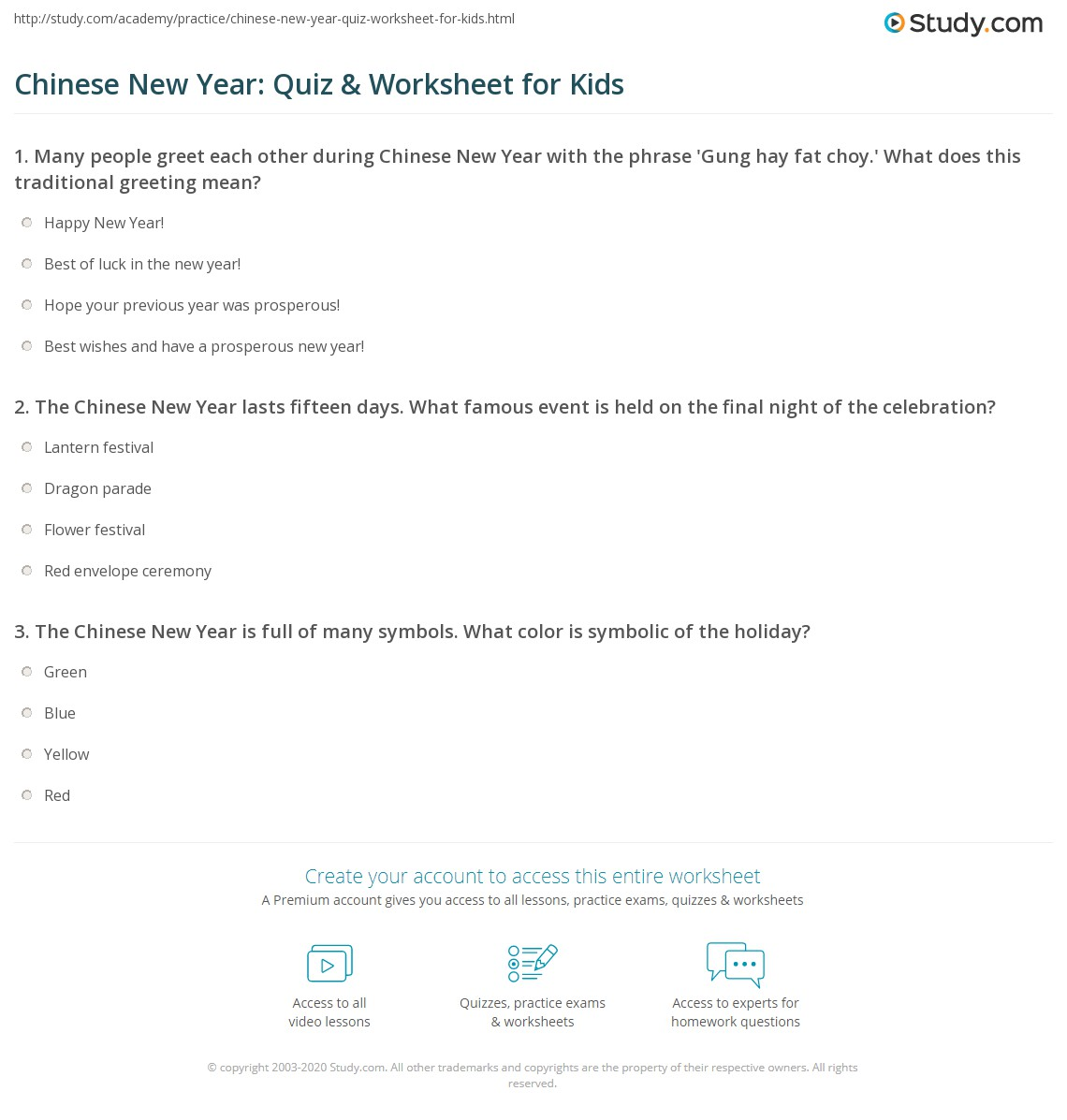 Chinese New Year Quiz Amp Worksheet For Kids