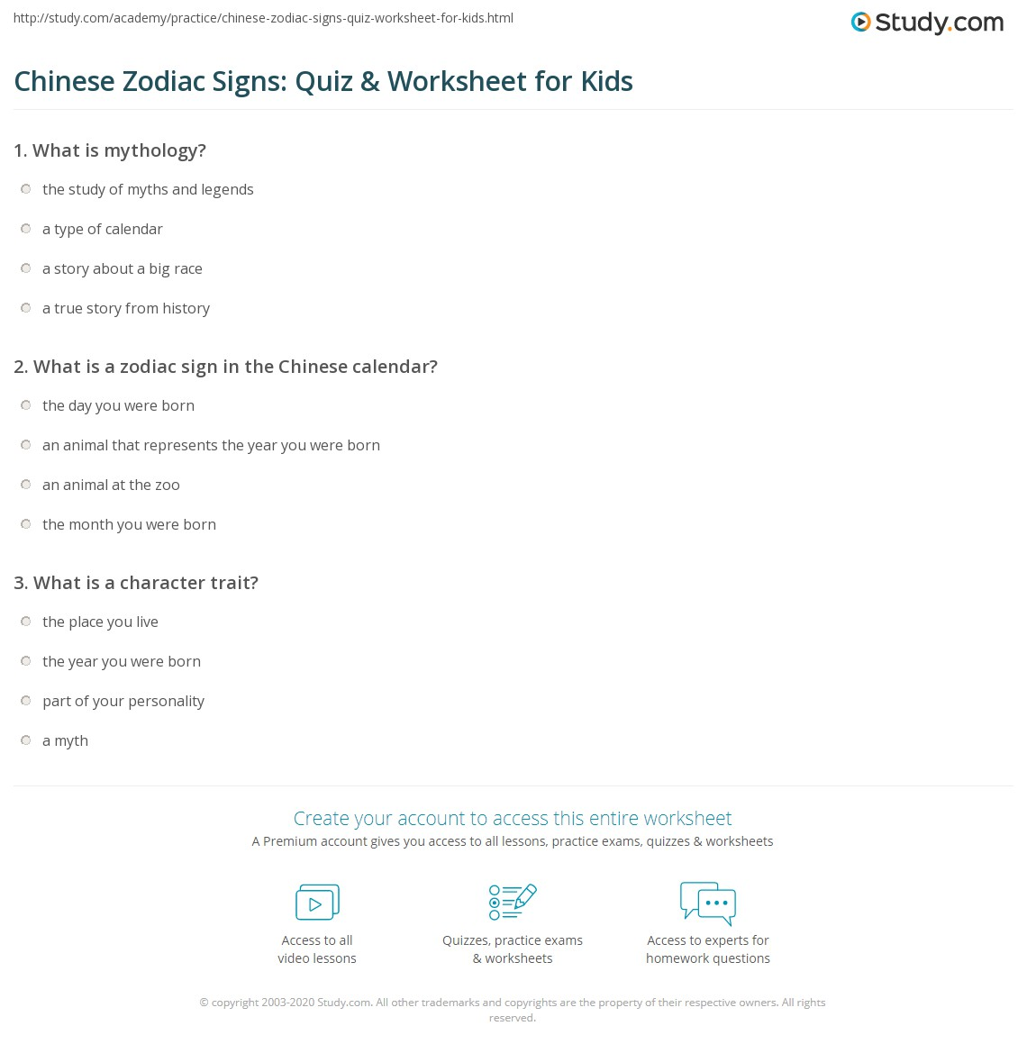 Chinese Zodiac Signs Quiz Amp Worksheet For Kids