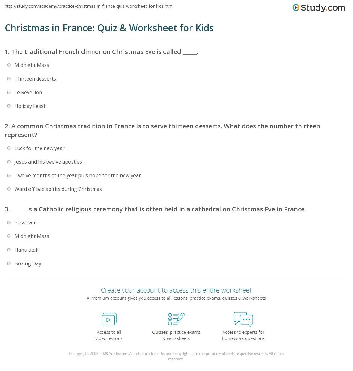 Christmas In France Quiz Amp Worksheet For Kids