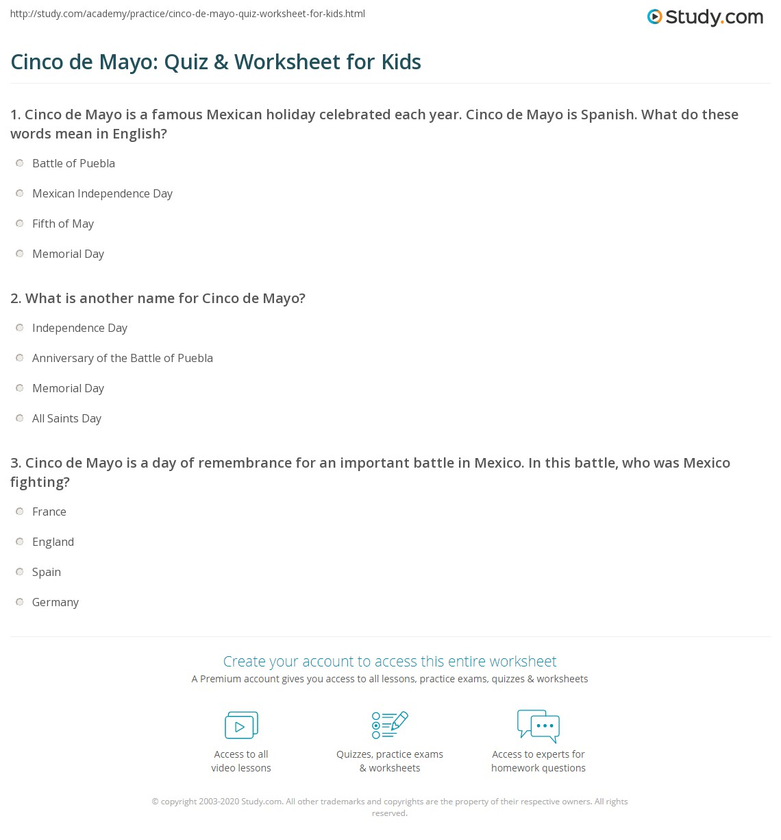 Cinco De Mayo Quiz Amp Worksheet For Kids