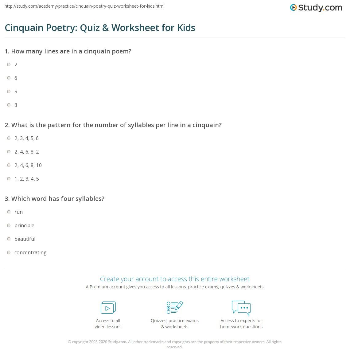 Cinquain Poetry Quiz Amp Worksheet For Kids
