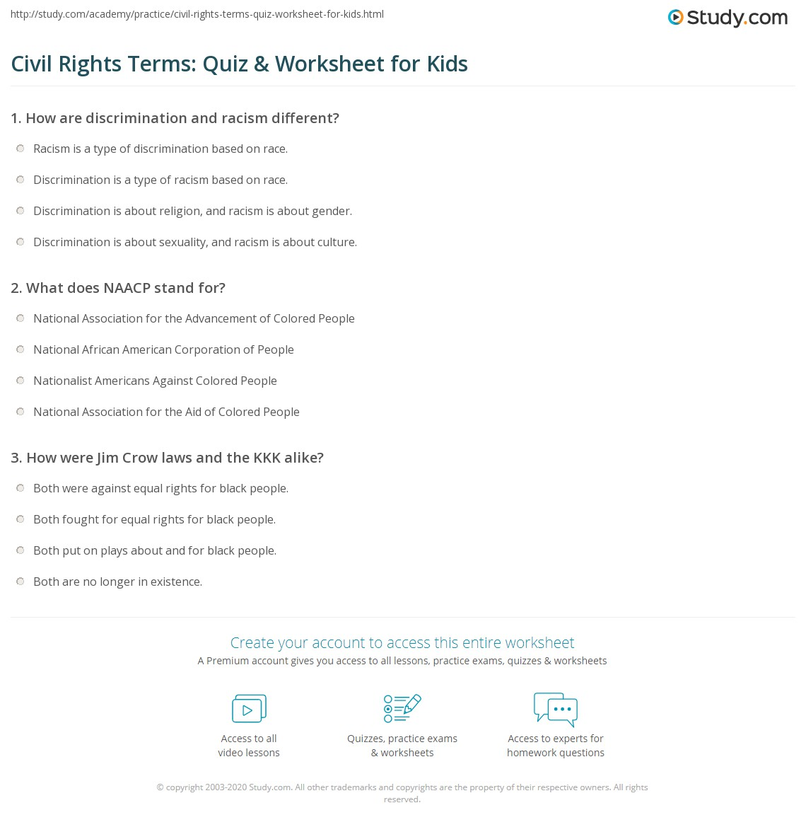 Civil Rights Terms Quiz Amp Worksheet For Kids