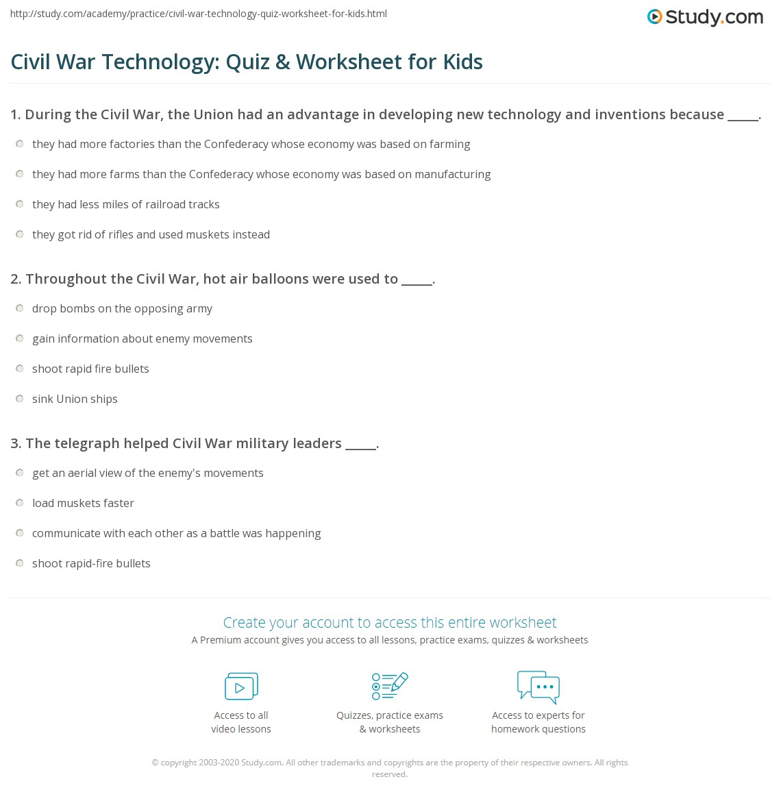 Civil War Technology Quiz Amp Worksheet For Kids