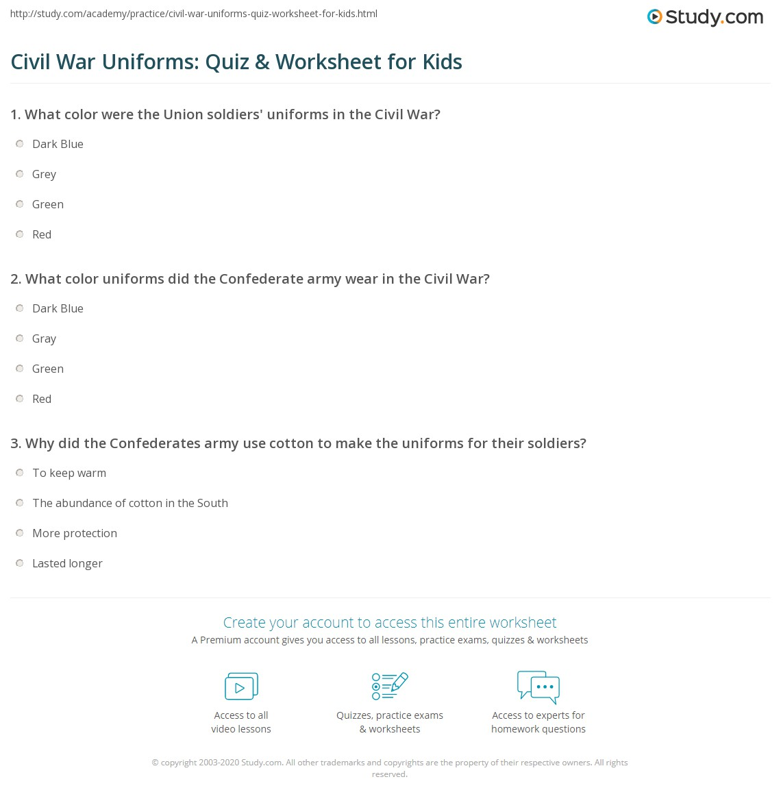 Civil War Uniforms Quiz Amp Worksheet For Kids