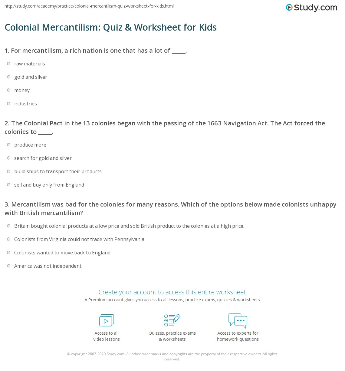 Colonial Mercantilism Quiz Amp Worksheet For Kids