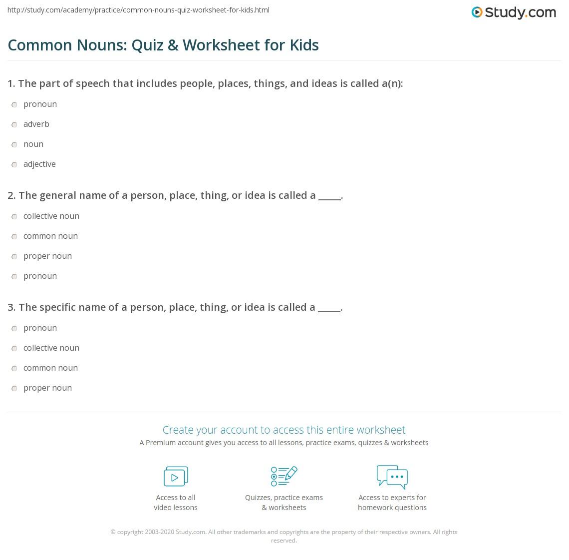 Common Nouns Quiz Amp Worksheet For Kids