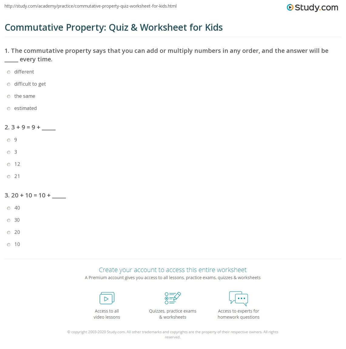 Commutative Property Quiz Amp Worksheet For Kids