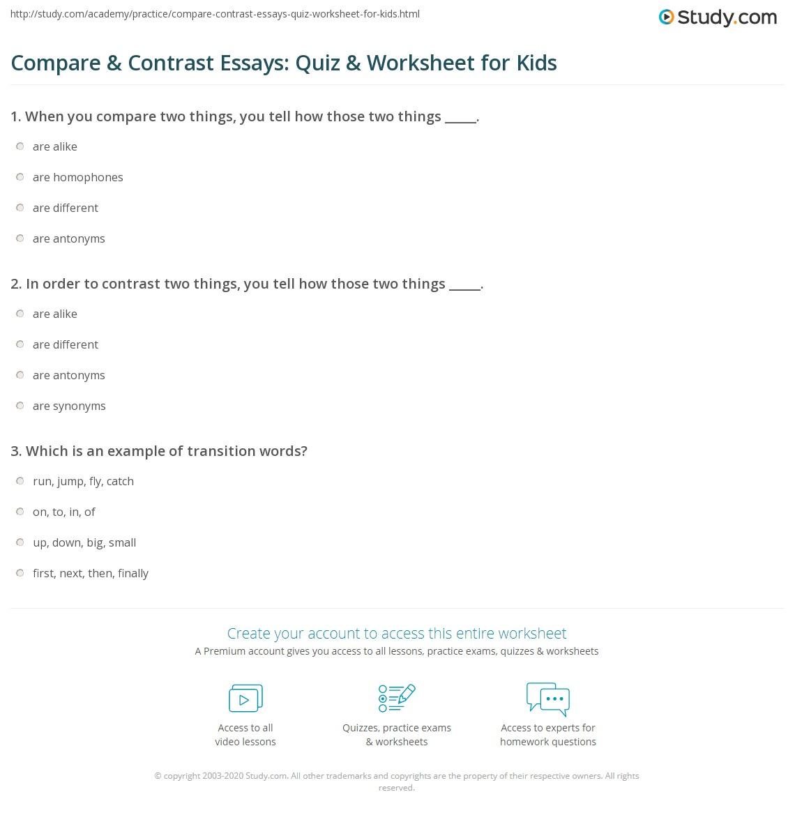 Compare Amp Contrast Essays Quiz Amp Worksheet For Kids