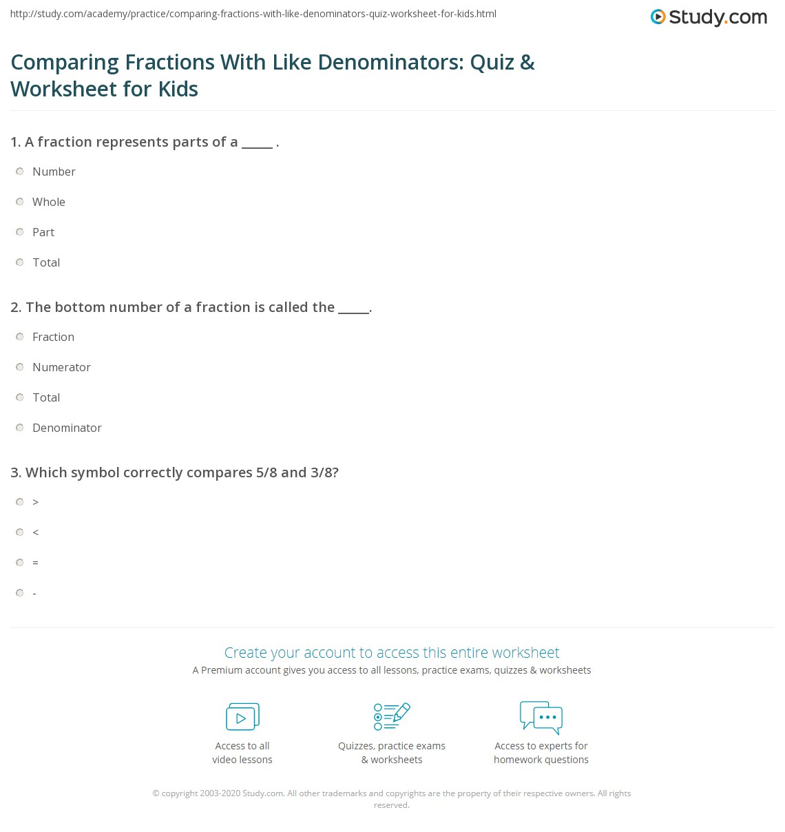 Comparing Fractions With Like Denominators Quiz