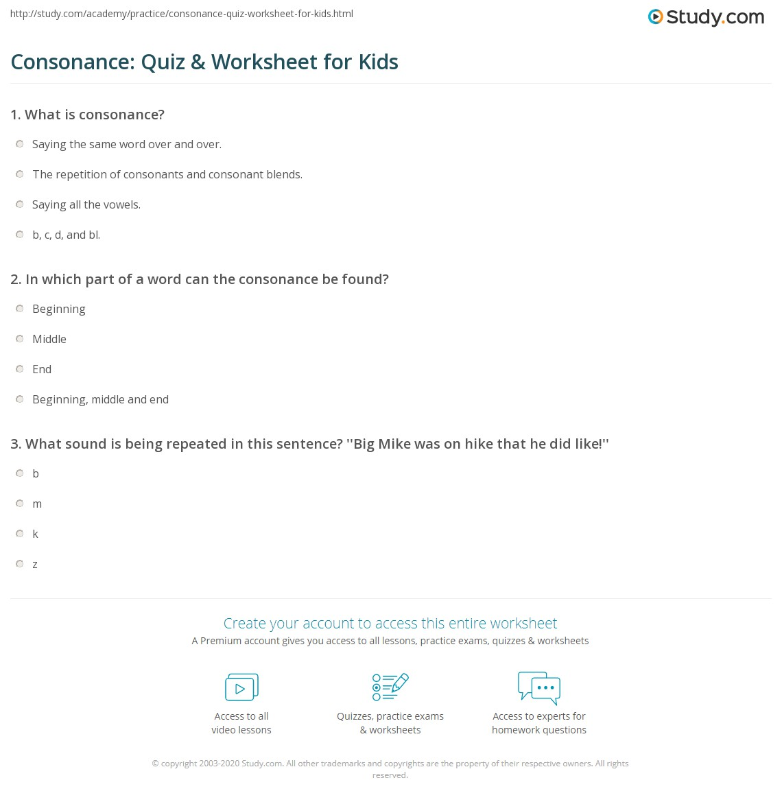 Consonance Quiz Amp Worksheet For Kids