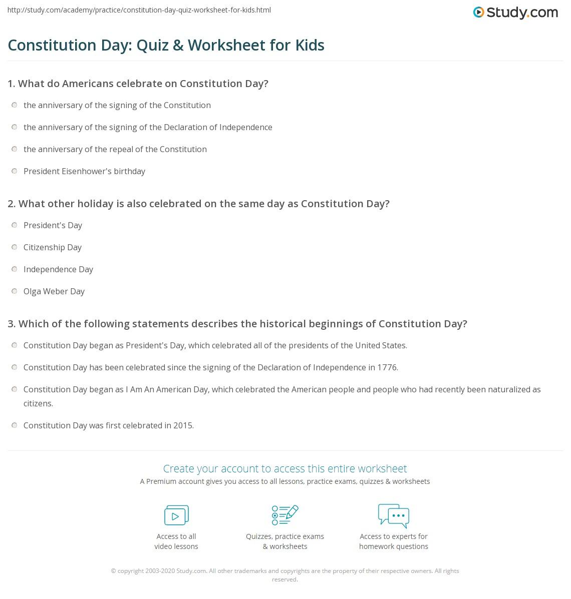 Constitution Day Quiz Amp Worksheet For Kids