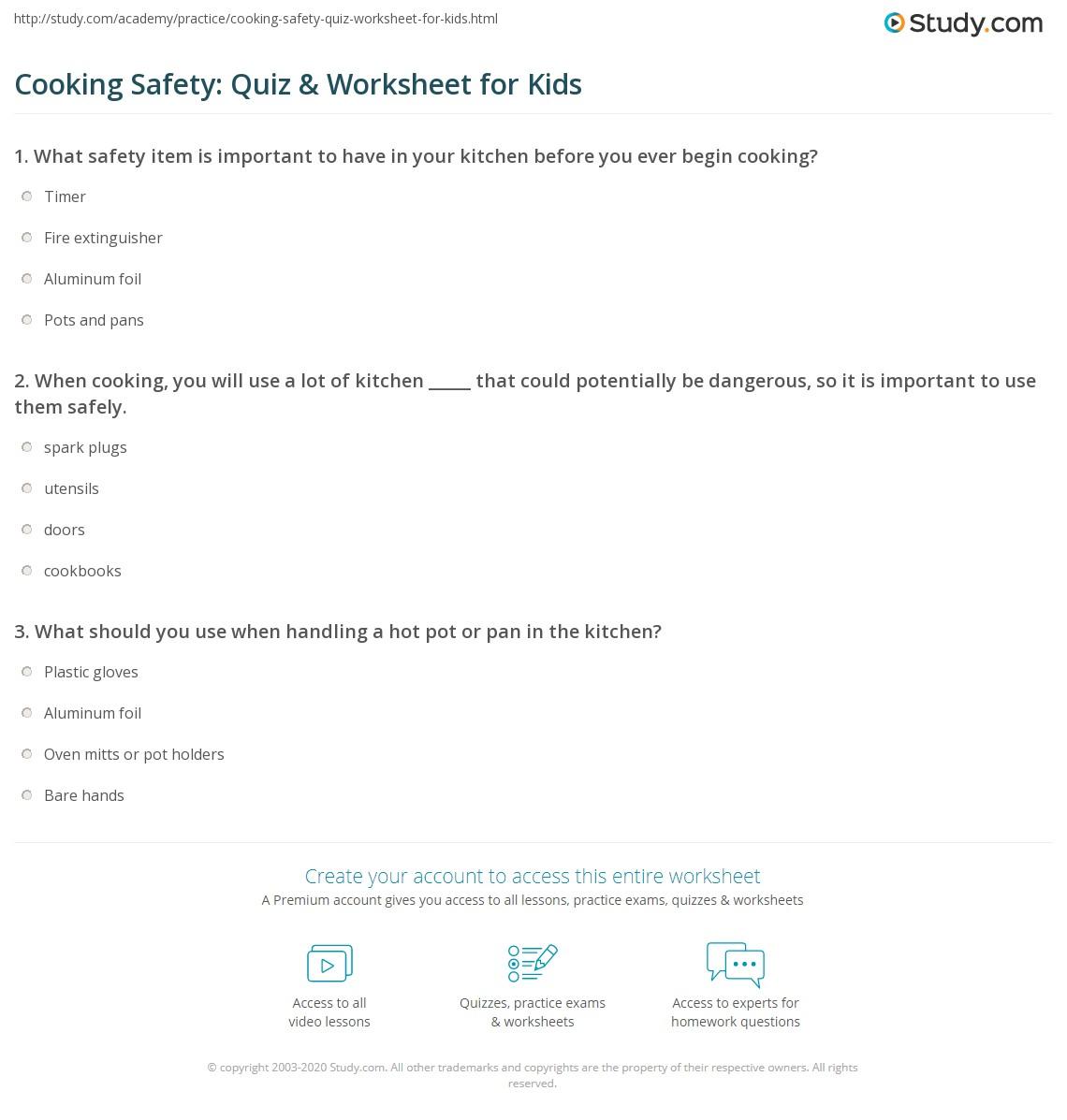 Cooking Safety Quiz Amp Worksheet For Kids