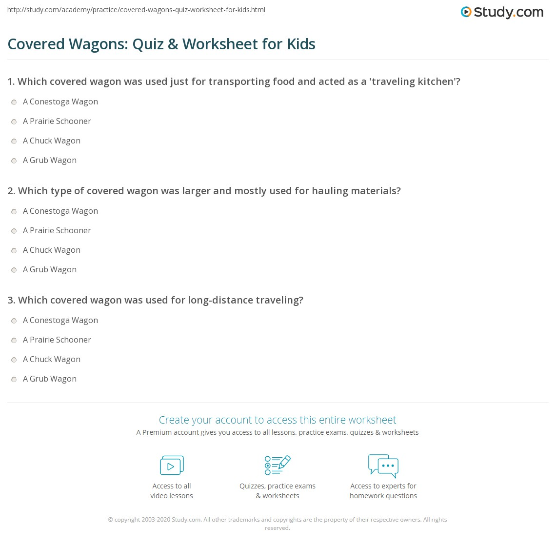 Covered Wagons Quiz Amp Worksheet For Kids