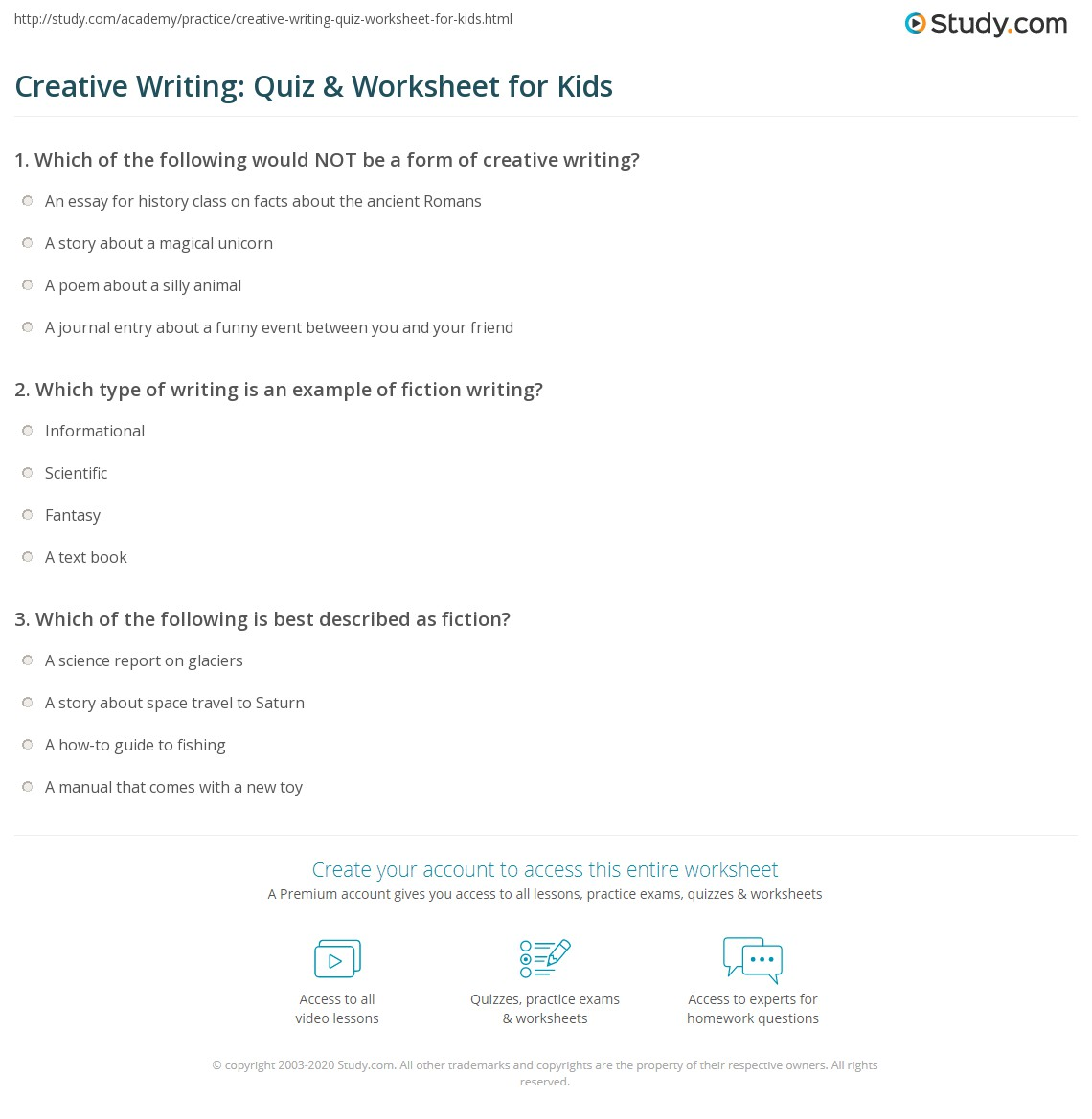 Creative Writing Quiz Amp Worksheet For Kids