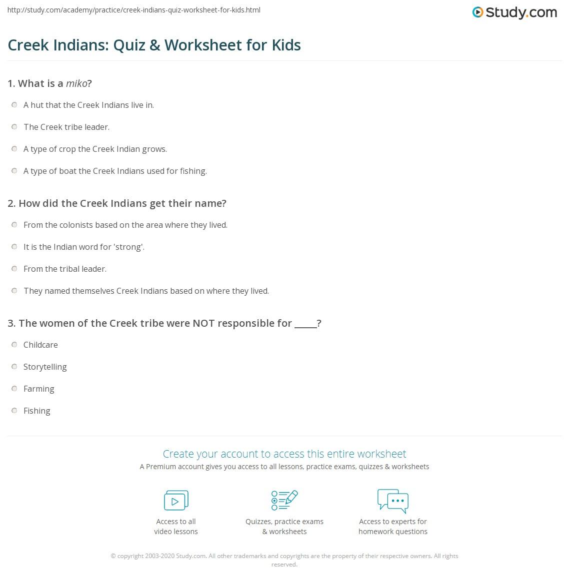 Creek Indians Quiz Amp Worksheet For Kids