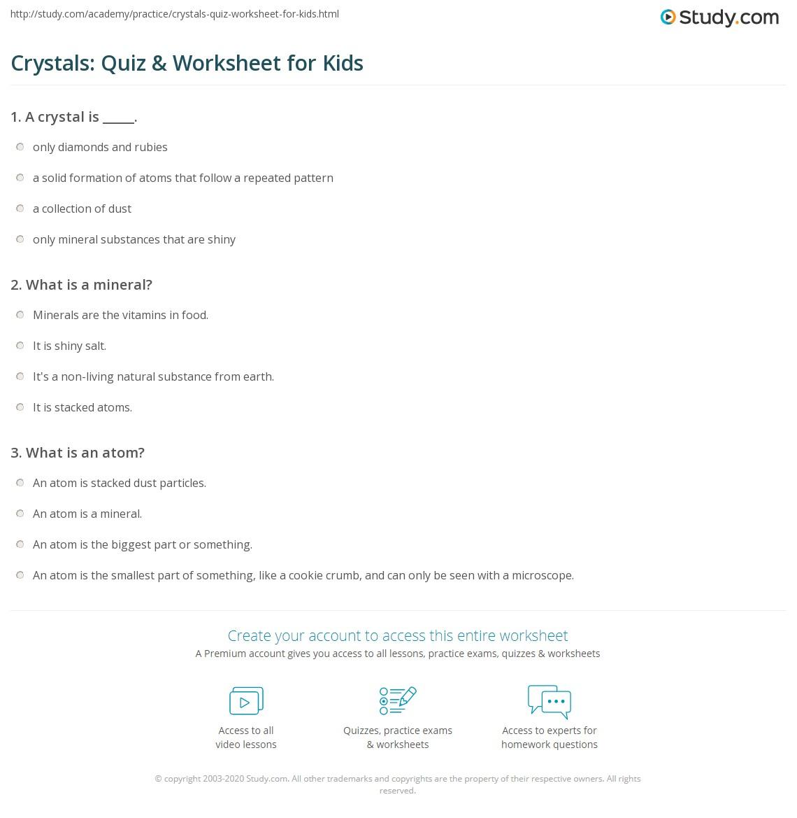 Crystals Quiz Amp Worksheet For Kids