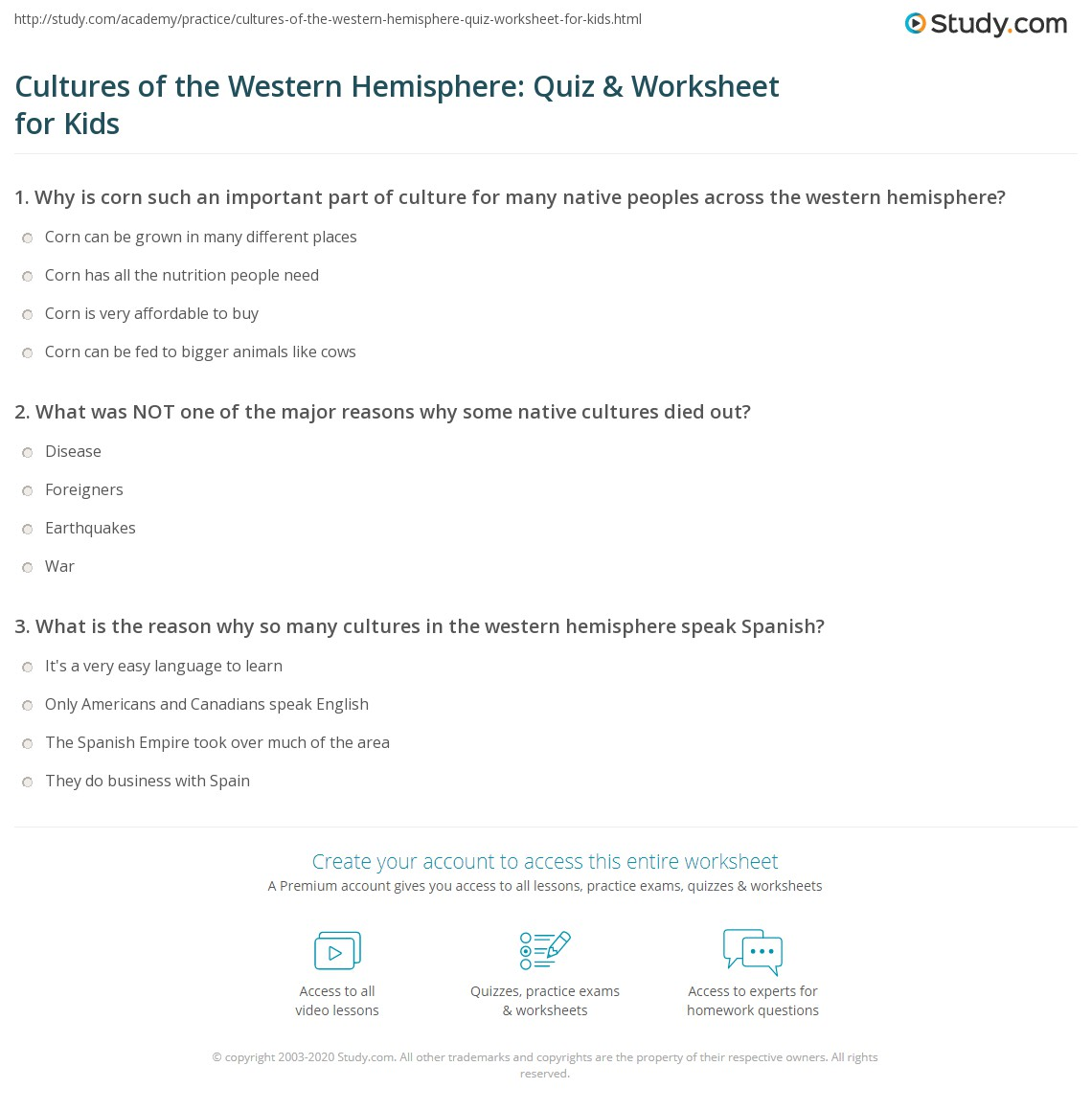 Cultures Of The Western Hemisphere Quiz Amp Worksheet For