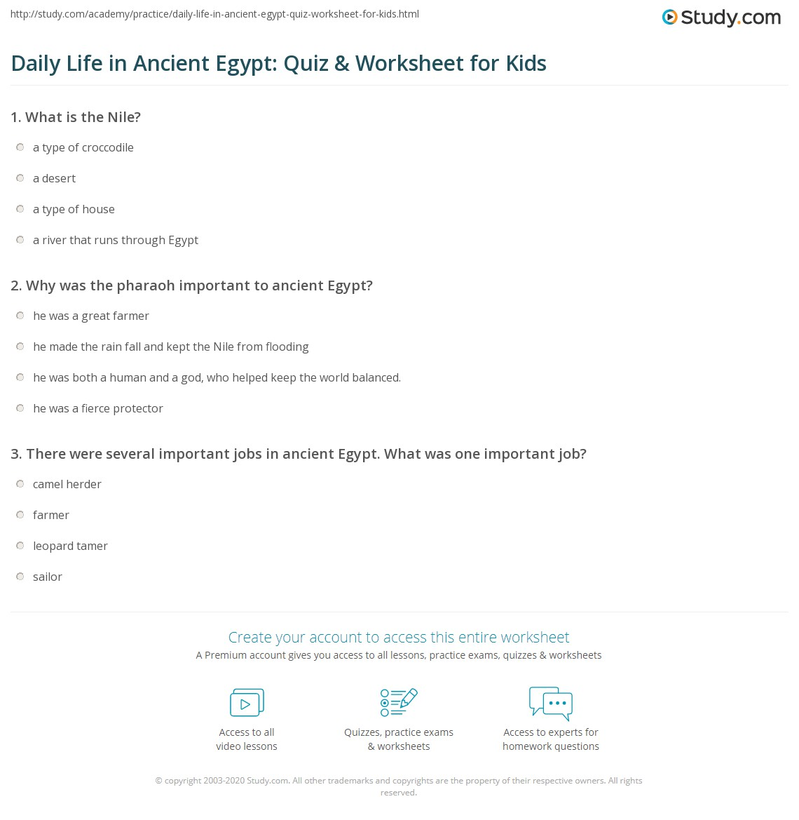 Daily Life In Ancient Egypt Quiz Amp Worksheet For Kids