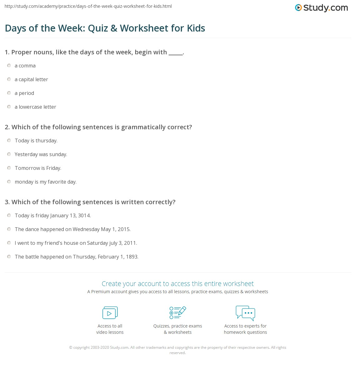 Days Of The Week Quiz Amp Worksheet For Kids