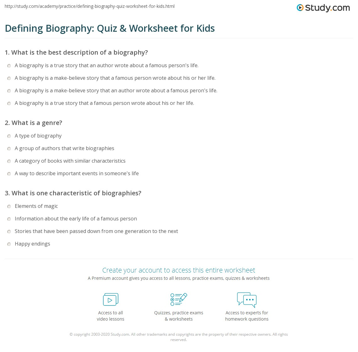 Defining Biography Quiz Amp Worksheet For Kids