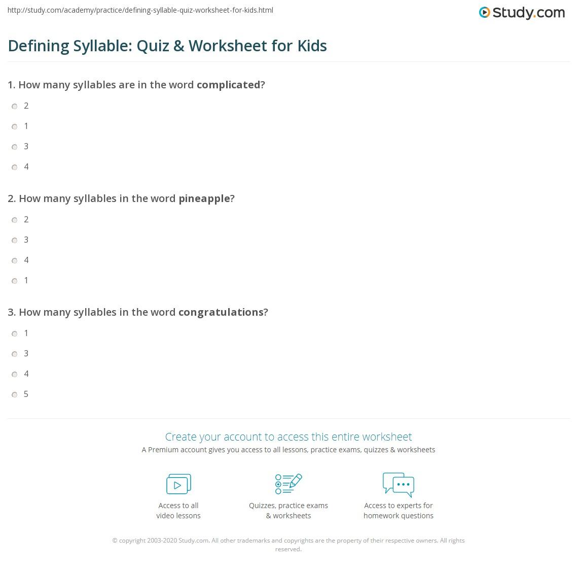 Defining Syllable Quiz Amp Worksheet For Kids