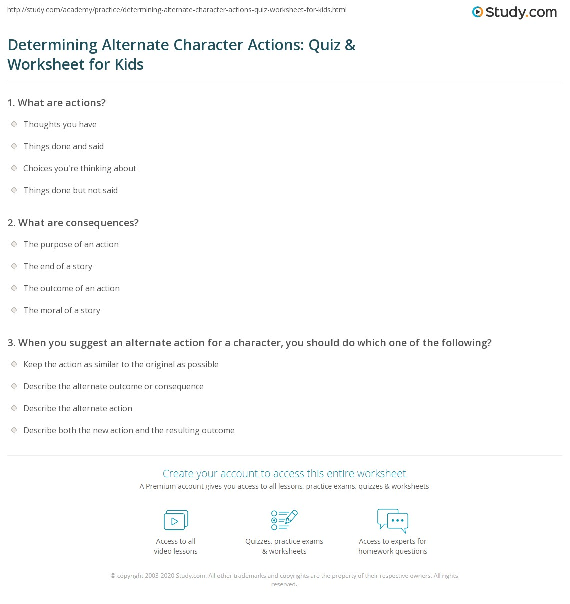 Determining Alternate Character Actions Quiz Amp Worksheet