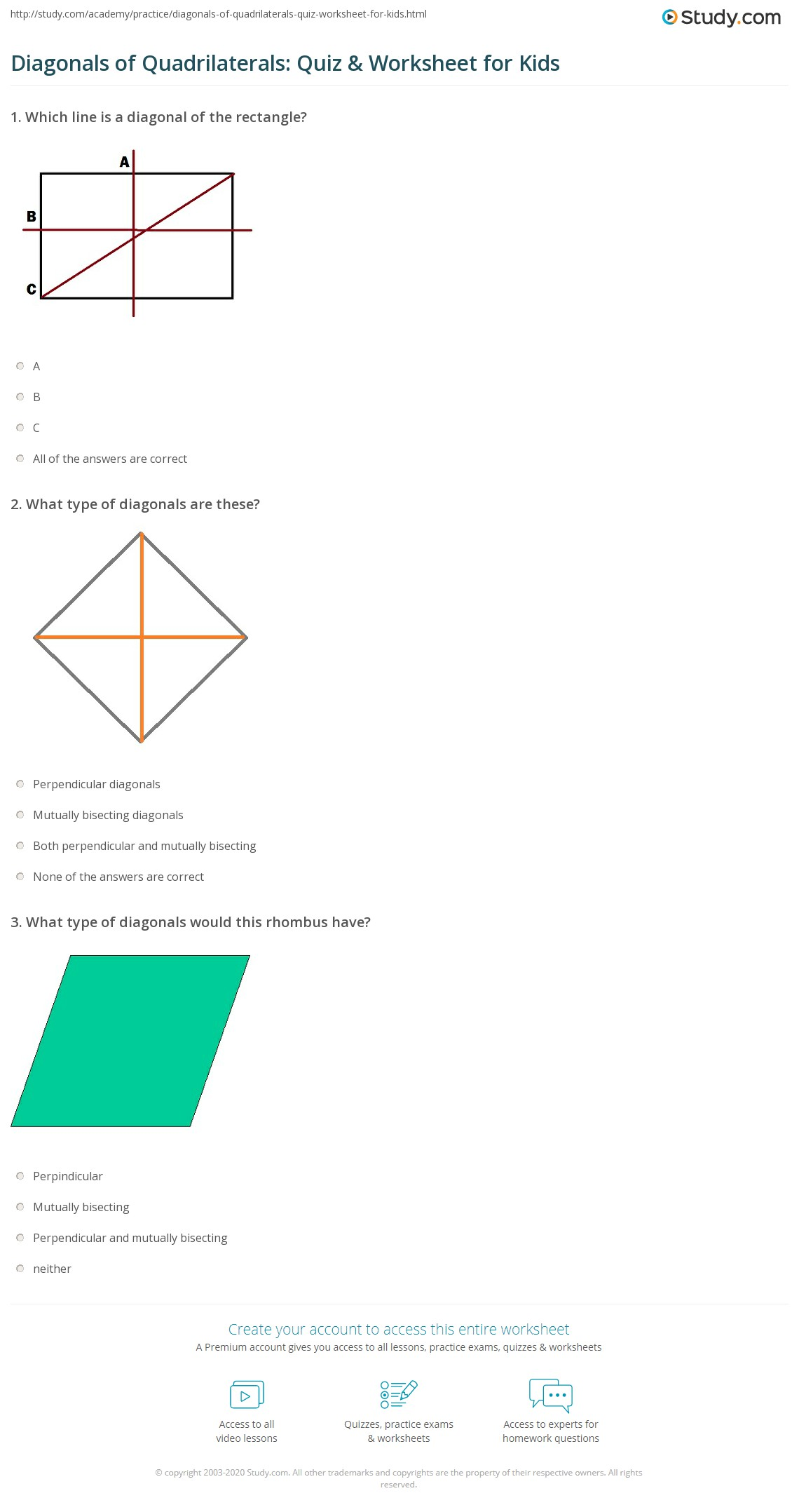 Diagonal Line Of Symmetry Worksheet