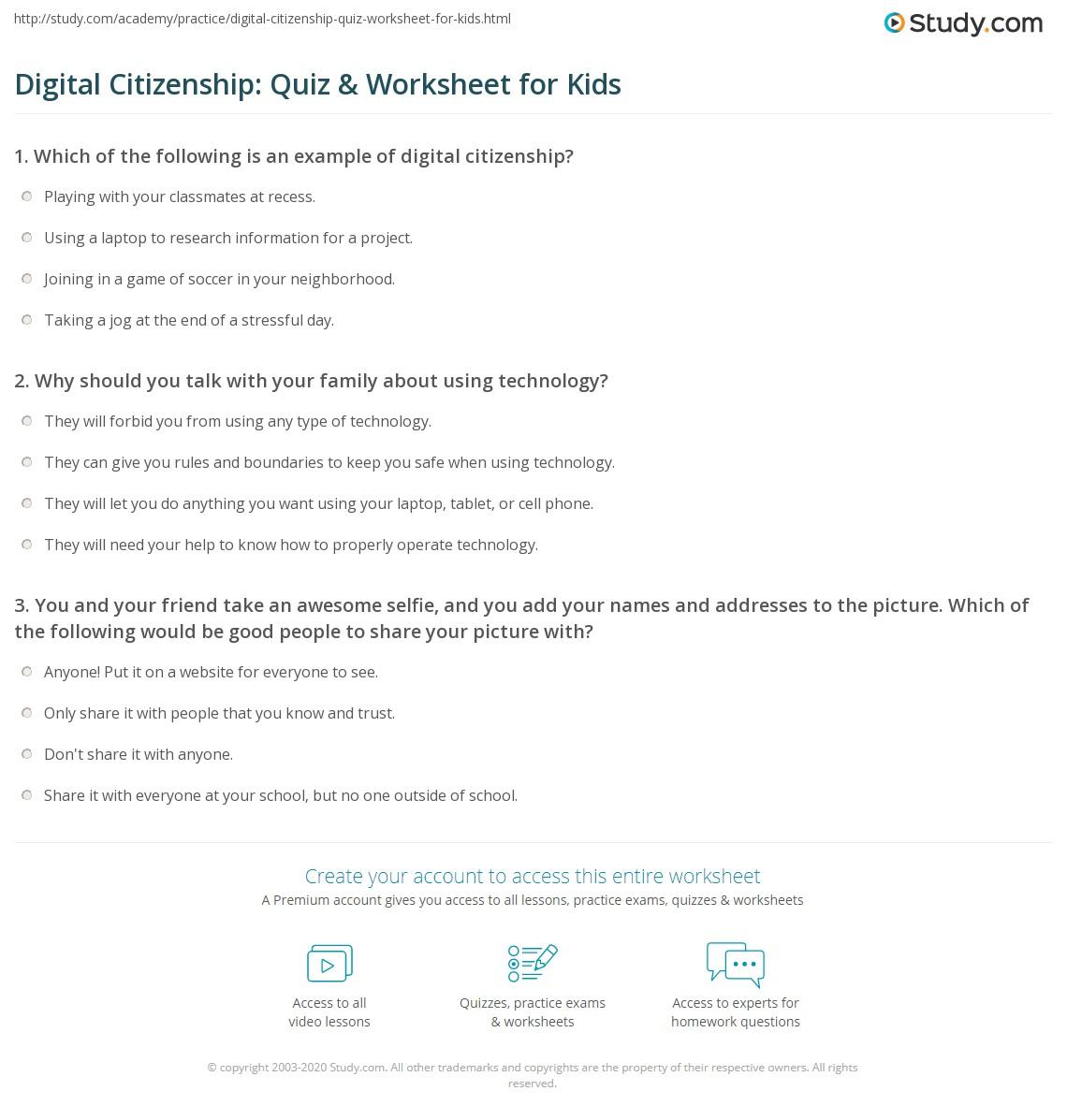 Digital Citizenship Quiz Amp Worksheet For Kids