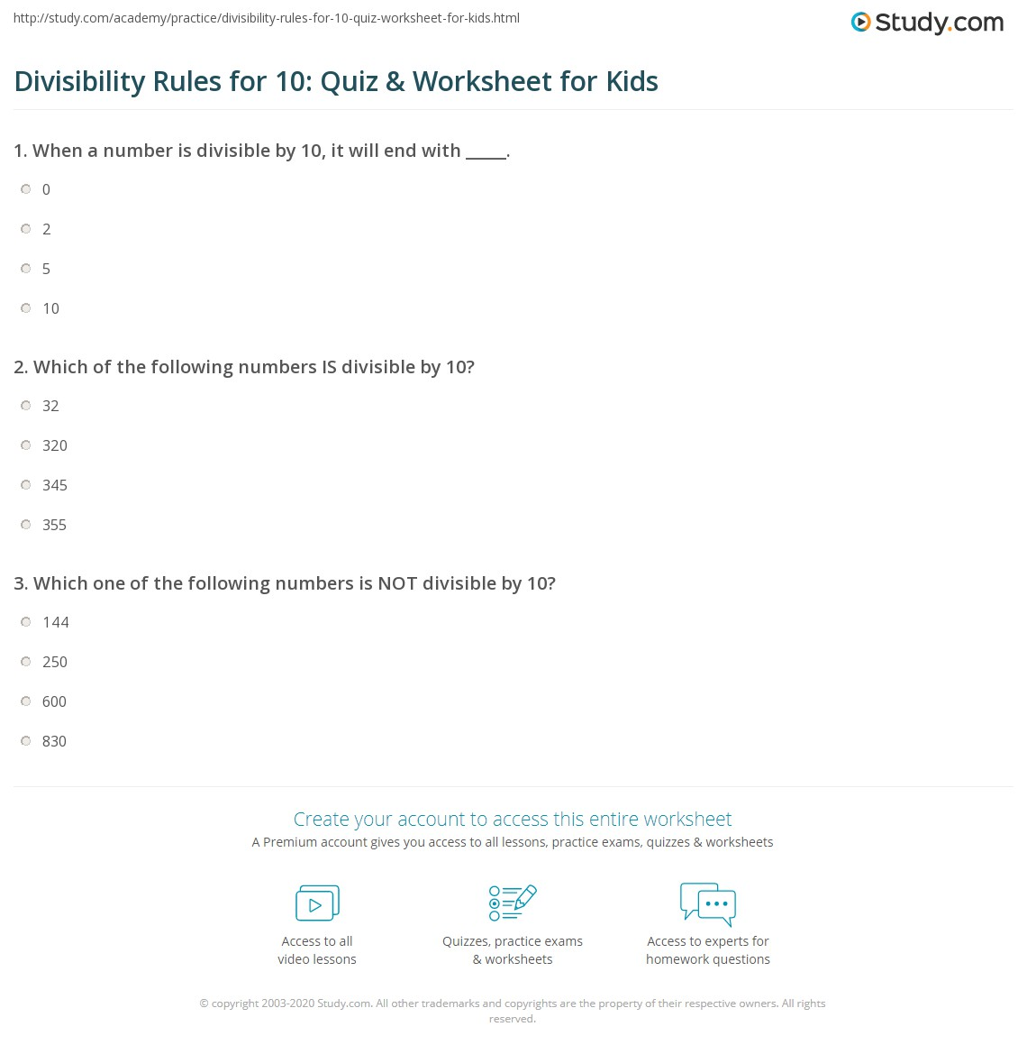 Divisibility Rules For 10 Quiz Amp Worksheet For Kids
